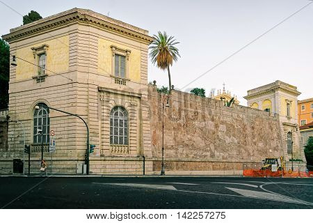 Rome, Italy - August 28, 2012: Trajan Forum in the Old City of Rome in Italy. Specially toned in vintage style