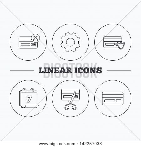 Bank credit card icons. Banking, protection and expired debit card linear signs. Flat cogwheel and calendar symbols. Linear icons in circle buttons. Vector
