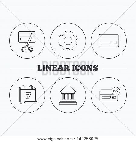 Bank credit card, approved card icons. Expired credit card linear sign. Flat cogwheel and calendar symbols. Linear icons in circle buttons. Vector