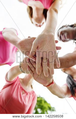 Girls Teamwork Relation Together Unity Friendship Concept