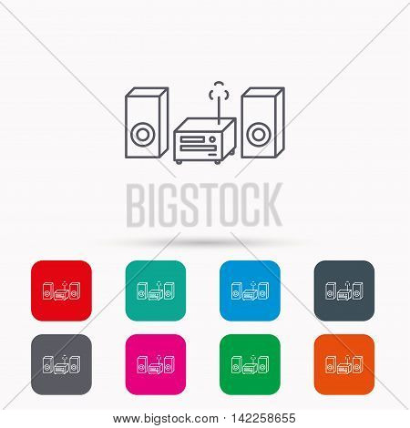 Music center icon. Stereo system sign. Linear icons in squares on white background. Flat web symbols. Vector