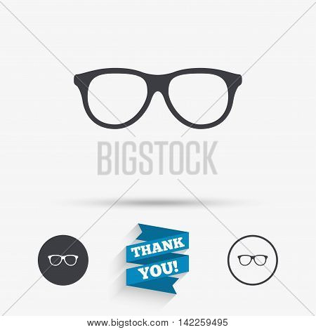 Retro glasses sign icon. Eyeglass frame symbol. Flat icons. Buttons with icons. Thank you ribbon. Vector