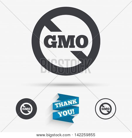 No GMO sign icon. Without Genetically modified food. Stop GMO. Flat icons. Buttons with icons. Thank you ribbon. Vector