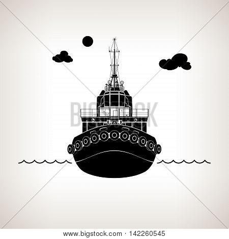 Front View of the Vessel Tugboat, Push Boat on Light Background, Silhouette Tow Boat for to Towage and Mooring of Other Courts, Vector Illustration