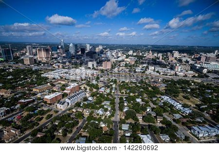 Dramatic Austin Texas From East looking at Downtown Skyline and Texas State Capitol Building an Entire city from rare angle on a gorgeous summer blue sky morning