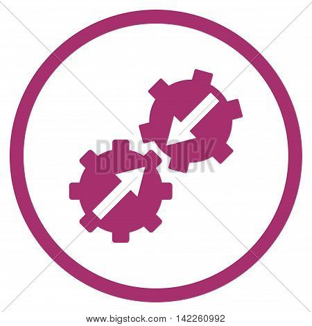 Gear Integration vector icon. Style is flat rounded iconic symbol, gear integration icon is drawn with purple color on a white background.