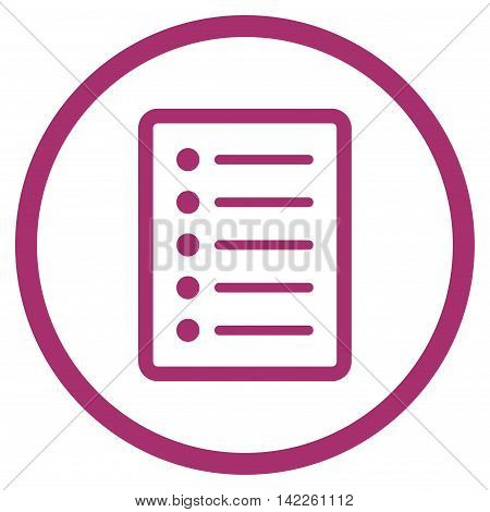 List Page vector icon. Style is flat rounded iconic symbol, list page icon is drawn with purple color on a white background.