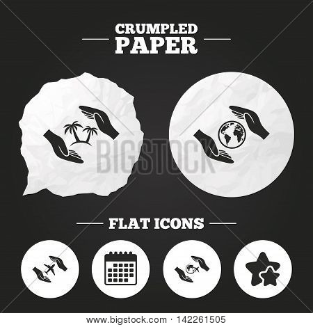 Crumpled paper speech bubble. Hands insurance icons. Palm trees symbol. Travel trip flight insurance symbol. World globe sign. Paper button. Vector