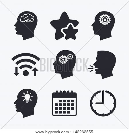 Head with brain and idea lamp bulb icons. Male human think symbols. Cogwheel gears signs. Wifi internet, favorite stars, calendar and clock. Talking head. Vector