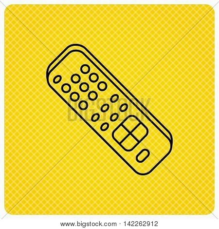 Remote control icon. TV switching channels sign. Linear icon on orange background. Vector