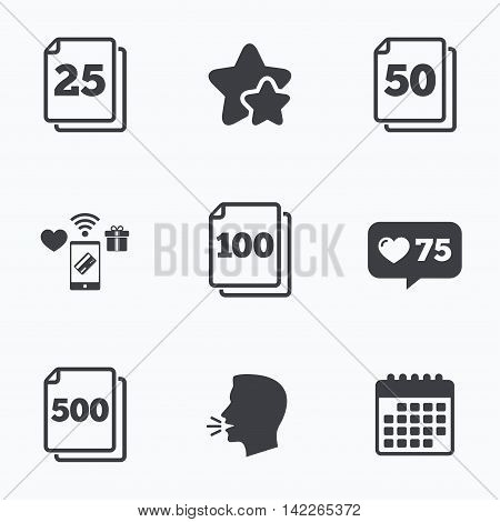 In pack sheets icons. Quantity per package symbols. 25, 50, 100 and 500 paper units in the pack signs. Flat talking head, calendar icons. Stars, like counter icons. Vector