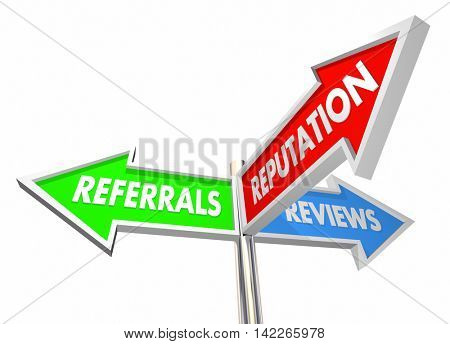 Referrals Reviews Reputation Business Growth 3d Illustration