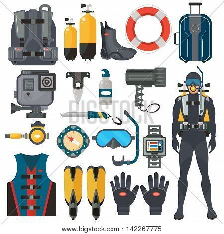 Scuba diving equipment accessories collection. Diver man in underwater wetsuit. Underwater hunting and swimming sport