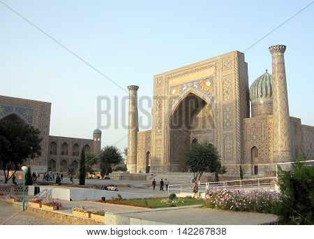 Samarkand Uzbekistan - September 19 2007: Sher-Dor Madrasah of Registan.