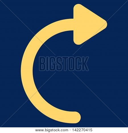 Rotate Cw glyph icon. Style is stroke flat icon symbol, yellow color, blue background. poster