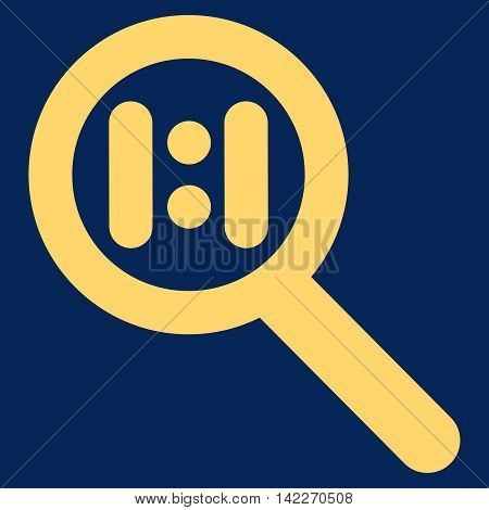 Zoom Actual Scale glyph icon. Style is outline flat icon symbol, yellow color, blue background.