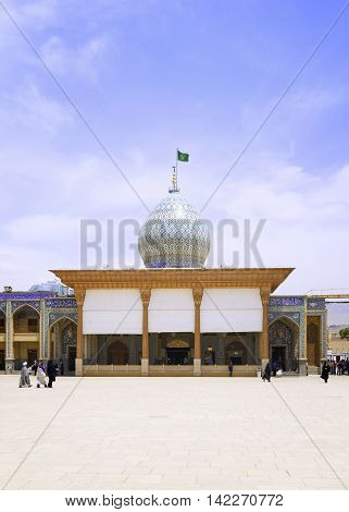 SHIRAZ IRAN - MAY 1 2016: Shah-e-Cheragh complex Shrine and mausoleum on 1 MAY 2016 in Shiraz Iran