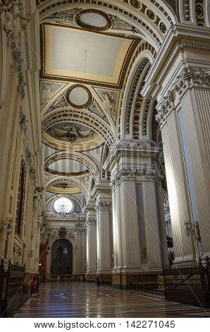 Zaragoza, Spain - May 16, 2010: Interior of Basilica - Cathedral of Our Lady of Pillar in Zaragoza Aragon Spain