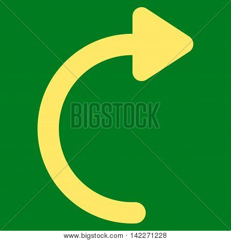 Rotate Cw glyph icon. Style is contour flat icon symbol, yellow color, green background. poster