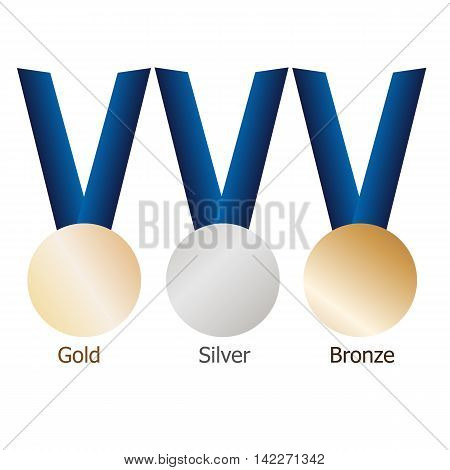 Gold medal, silver medal, bronze medal on blue ribbons with shiny metallic surfaces. Isolated gold, silver, bronze medals on white background.Vector set