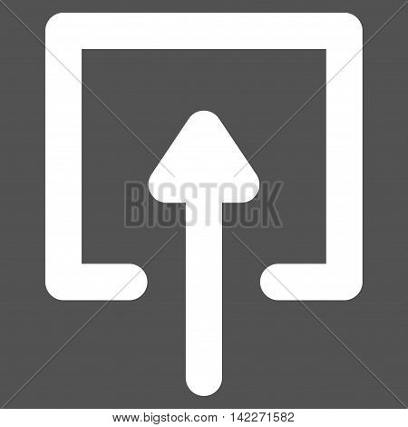 Upload glyph icon. Style is outline flat icon symbol, white color, gray background. poster