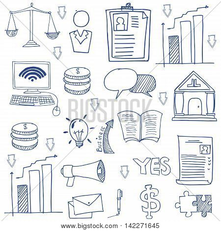 Doodle business hand draw stock collecton vector