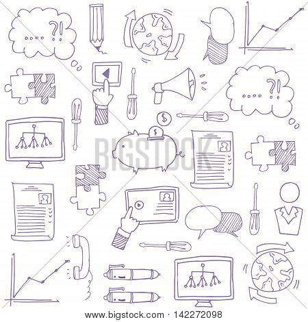 Doodle of hand draw business stock collection vector