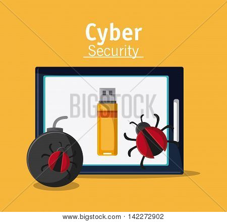 tablet bomb bug usb cyber security system protection icon. Colorfull illustration. Vector graphic