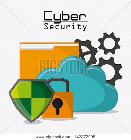 file padlock shield gears cloud cyber security system protection icon. Colorfull illustration. Vector graphic