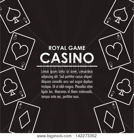 cards casino las vegas game icon. White and black illustration. Vector graphic