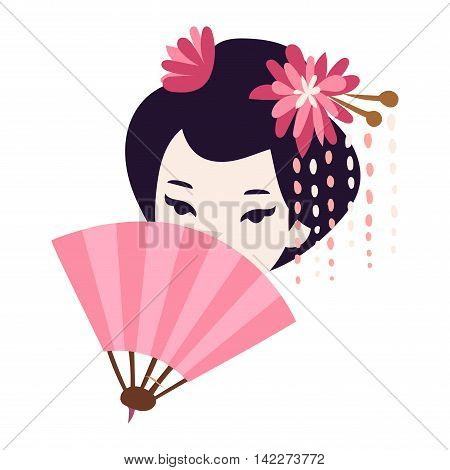 Vector kokeshi doll japanese geisha girl face character. Colorful kimono pretty traditional woman beautiful makeup japanese geisha girl. Japanese geisha girl fashion culture beauty art.