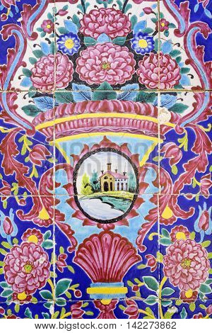 SHIRAZ IRAN - 3 MAY 2016: Detail of the tilework decoration close up in the Nasir al Molk or Pink Mosque in Shiraz Iran.