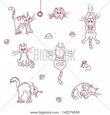 Funny cute cats . Doodle vector set