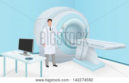 Doctor invites patient to body brain scan of MRI machine. MRI scan and diagnostics process in procedure room. Realistic vector