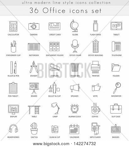 Vector office ultra modern outline line icons for web and apps