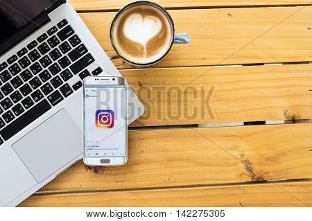 CHIANG MAI THAILAND - MAY 12 2016: Screen shot new logo Instagram application using samsung galaxy s6 edge. Instagram is largest and most popular photograph social networking.