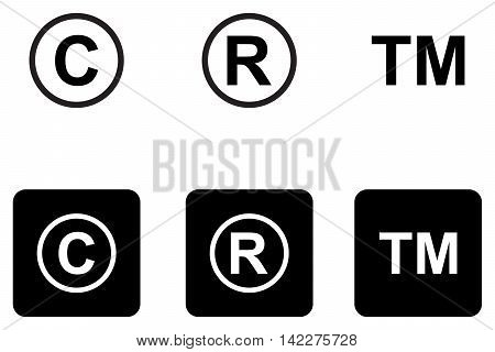 Copyright trademark icons set property work pictogram icons product
