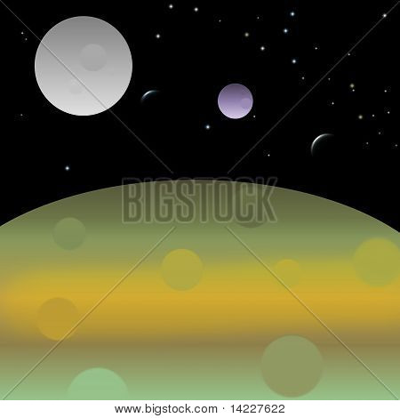 Graphic design of planets and moons in space