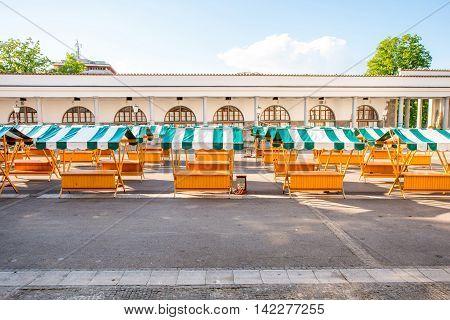 Old market square in Ljubljana city on the morning