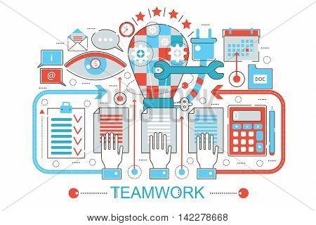 Modern Flat thin Line design Teamwork coworking concept for web banner website, presentation, flyer and poster