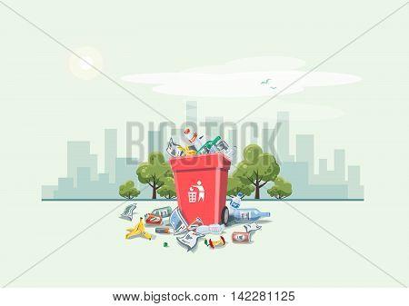 Littering Garbage Around The Trash Bin On The Street