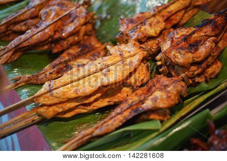 Hot Grilling chickens plugged with bamboo on green leaf. smoked grill chicken barbecue, thai local food, traditional food Thailand