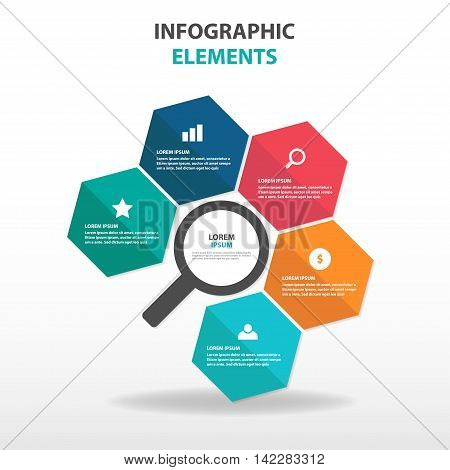 Abstract magnifing hexagon business Infographics elements, presentation template flat design vector illustration for web design marketing advertising
