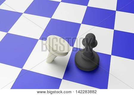 Black Pawn Defeating White Pawn On A Blue Chess Board 3d illustration