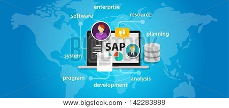 SAP system software enterprise resource planning global international vector