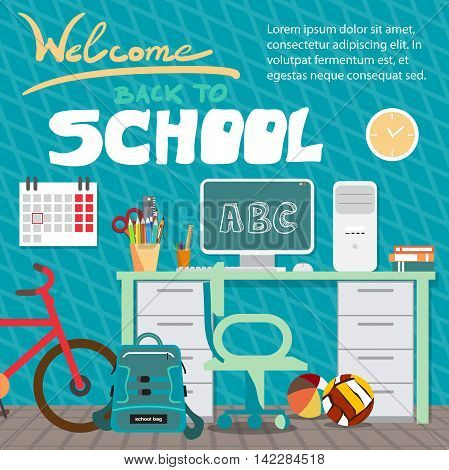 Back to school concept. Teenagers workspace with desk, computer, bycicle, books, backpack etc. Child room interior. Flat cartoon style vector background for poster, card, banner