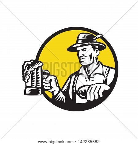 Illustration of a Bavarian beer drinker holding beer mug wearing lederhosen and German hat looking to the side set inside circle done in retro woodcut style.