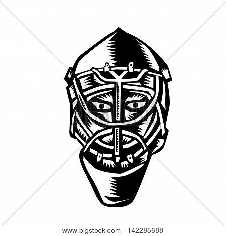 Illustration of a ice hockey goalie helmet set on isolated white background done in retro woodcut style.