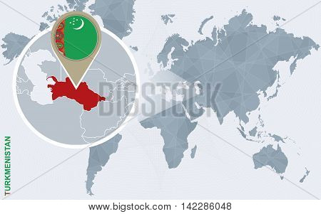 Abstract Blue World Map With Magnified Turkmenistan.