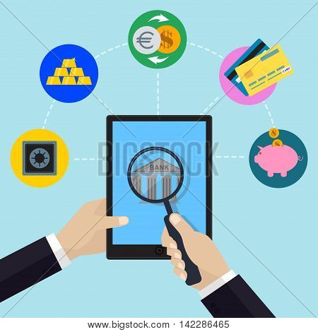 Online banking and bank service concept with hand holding tablet and magnifier. Financial and bank icons in flat style. Vector illustration.